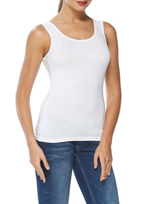 Sevim Modal Likralı Kalın Askılı Bluz Beyaz